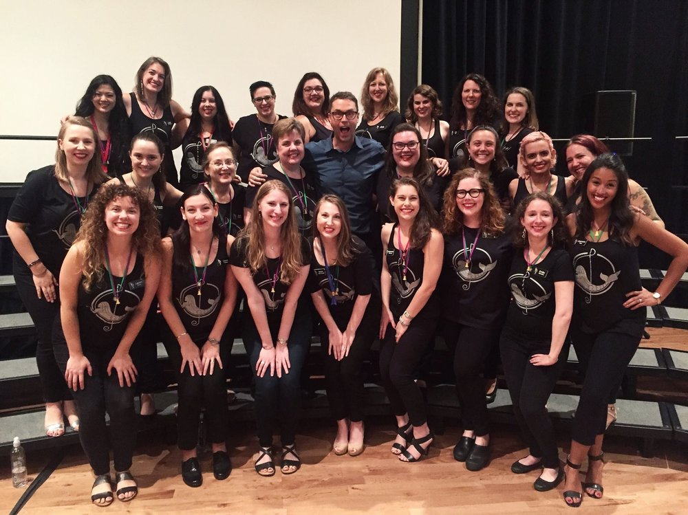 "Coaching session with Deke Sharon, the ""father of contemporary a cappella music"" at the International Educational Symposium (IES) hosted by Sweet Adelines International (SAI) in August 2017."