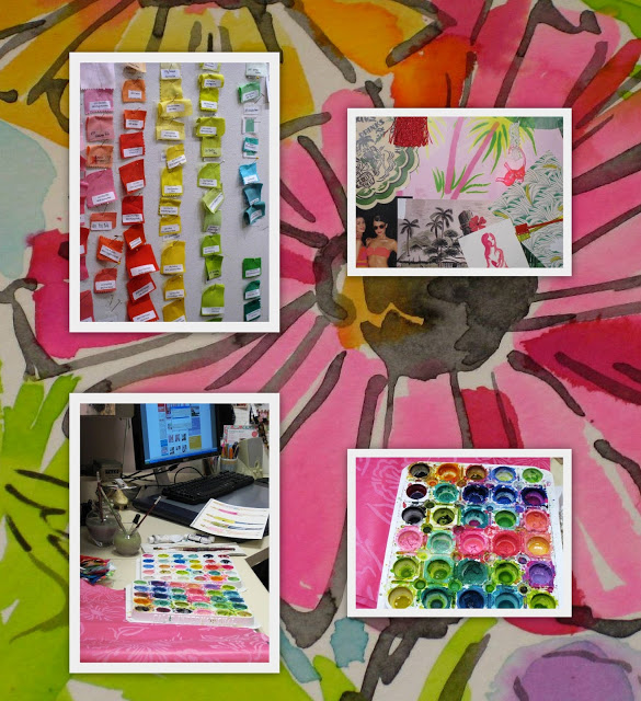 Clockwise, above: color palettes, an inspiration board, pan of paints, from art to technology. Background: watercolor blooms.