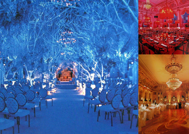 Three weddings at New York's Plaza Hotel show how light -- not paint -- can dramatically change the look of a space. At left, Melissa River's fairytale wedding in the Terrace Room.  At right, the Grand Ballroom in completely different wardrobes of red and gold. (Photos: from author's archives, David Hechler and Roger Dong; all from Light X Design: 20 Years of Lighting by Bentley Meeker. Available from Glitterati.)