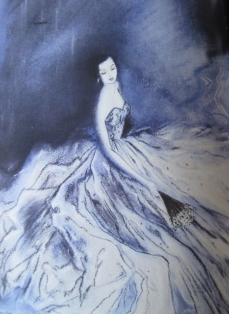 DRESS+Blue+background+White+gown++illustrated+by+Ruth+Freeman+for+Harrods+via+100+years+of+fashion+illustration+BOOK+by+Cally+Blackman.JPG