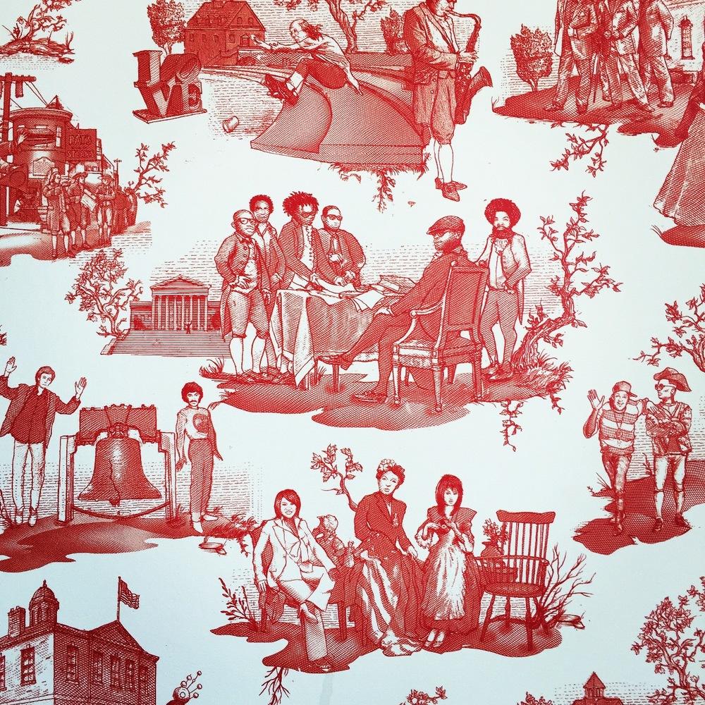 modern red toile custom wallpaper for Pipeline Philadelphia by Flavor Paper