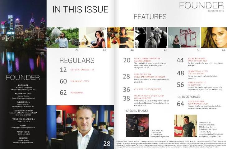 Founder Magazine premiere issue masthead and table of contents