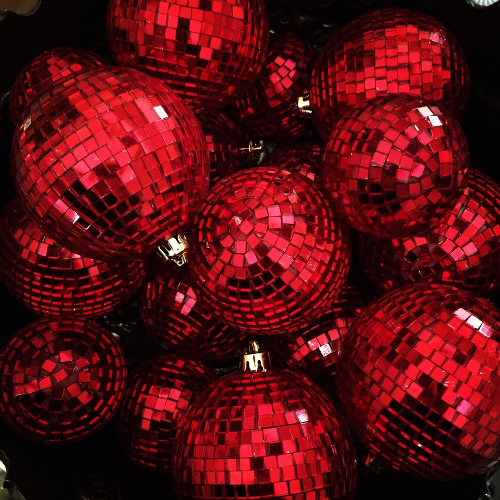 red disco ball christmas decoration doreen creede style maniac