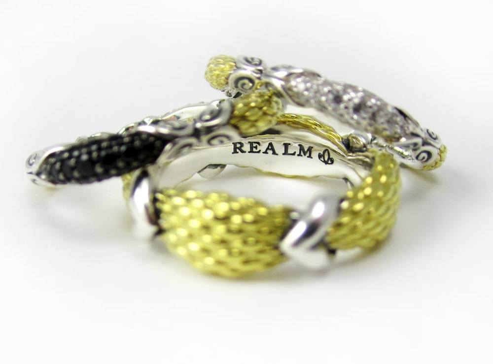 REALM  Empire Stack rings .Can't choose one? Get'em all! (Starting at $150, in precious metals, these are a steal!)