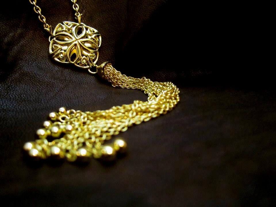 Bold In A Bohemian Way: REALM's   intricate and alluring  Insignia Delicat Y necklace of s  olid sterling silver with 18k gold vermeil.