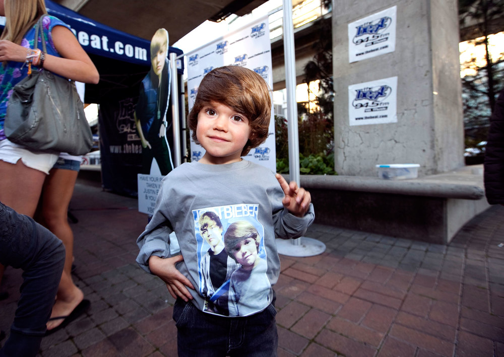 A Belieber, age 4 attends Justin Bieber's first concert in Vancouver in 2010.