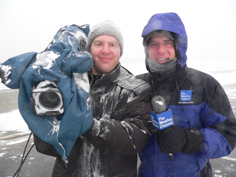 Live shots with the Weather Channel in a blizzard.