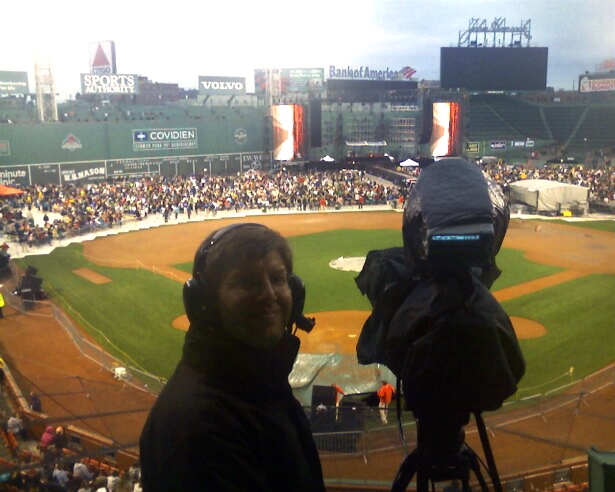 Filming NSYNC + The Backstreet Boys at a local ballpark