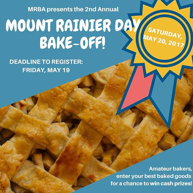 Amateur bakers, get your ovens ready for the 2nd Annual BAKE-OFF! **Categories include Cakes, Pies, Cookies/Brownies/Bars, and Breads or other savory baked goods.  Visit our bio link for full details and sign up to participate today!! #mrbabakeoff #mountrainierday #bakeoff #bakingcontest #bakedgoods #mountrainiermd #getyourovenstarted