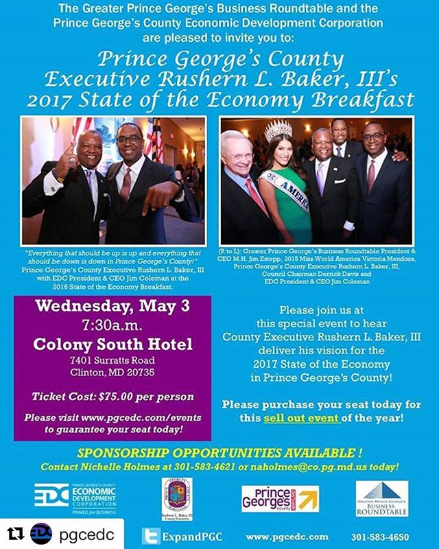 Breakfast with the County Executive, anyone?! See below from our friends @pgcedc and sign up today! #repost #stateoftheeconomy #princegeorgescounty #maryland ・・・ We are just days away from County Executive Rushern Baker's 2017 State of the Economy Breakfast and tickets are moving fast!  Do not miss out on this event that will soon be sold out! Click the link below to RSVP now!  Event Details:  May 3rd 7:30am Colony South Hotel and Conference Center 7401 Surratts Road in Clinton, MD #SOTE2017  http://www.pgcedc.com/events/prince-george-s-county-executive-rushern-l-baker-iii-s-2017-state-of-the-economy-breakfast
