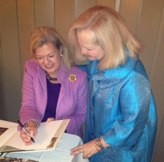 Patricia McLean with Fran Hawkins, program chair of Antiquarian Society of Gadsden, Alabama.