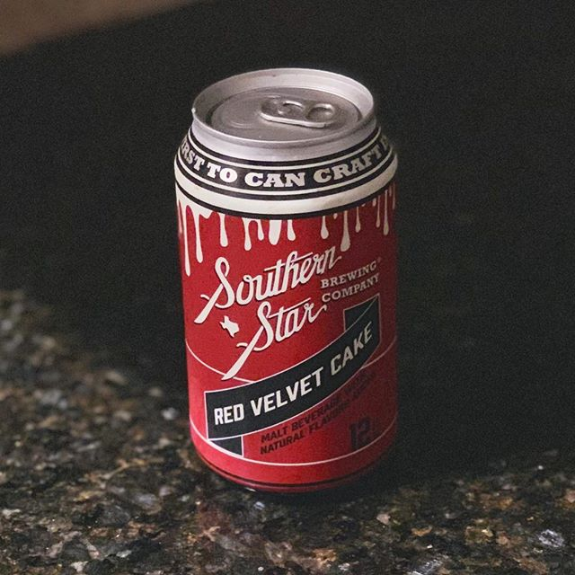 Can of tasty cake, Red velvet swirled into stout, Frosting running down. #southernstarbrewing #redvelvet #stout #texasbeer #craftbeer #haiku #totalwine