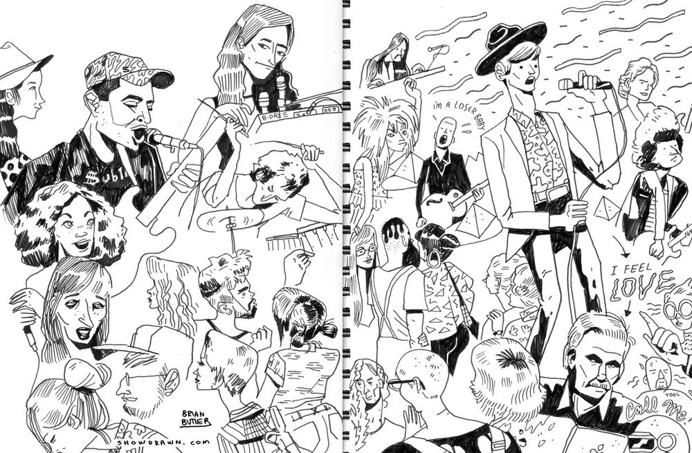 Avey Tare's Slasher Flicks, Beck and Giorgio Moroder Illustration: Brian Butler /  Upperhand Art  /  Show Drawn