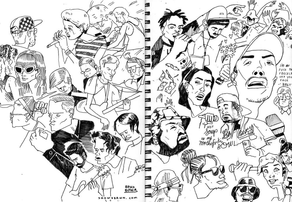Earl Sweatshirt, Perfect Pussy, Deafhaven, Isaiah Rashad & Schoolboy Q   Illustration: Brian Butler /  Upperhand Art  /  Show Drawn
