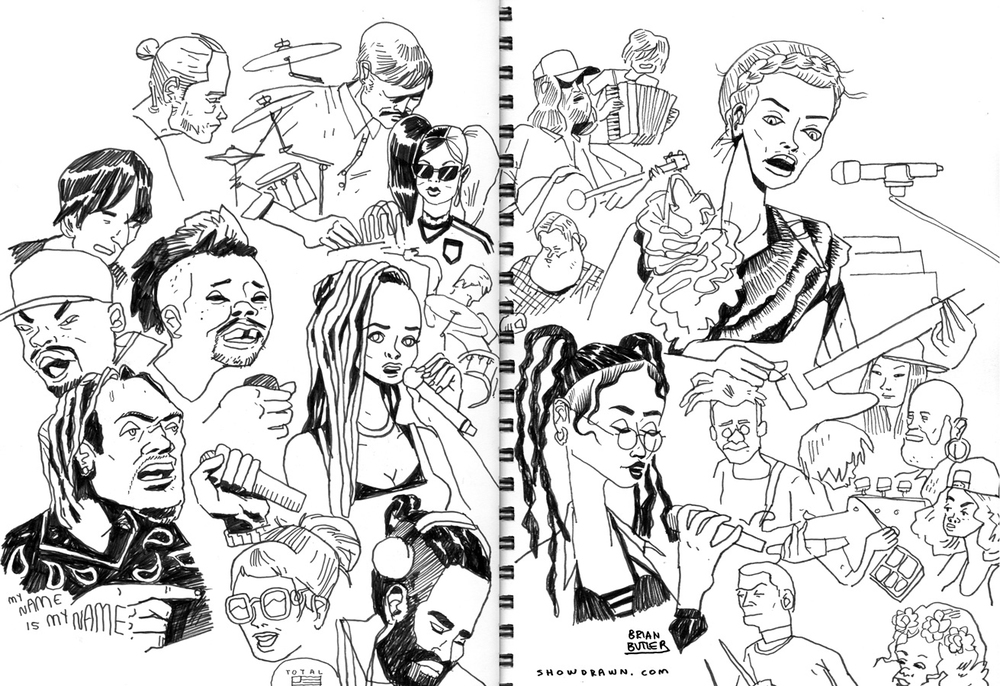 St. Vincent, FKA Twigs, Neutral Milk Hotel, Pusha T, Danny Brown, Kelela & The Fields   Illustration: Brian Butler /  Upperhand Art  /  Show Drawn