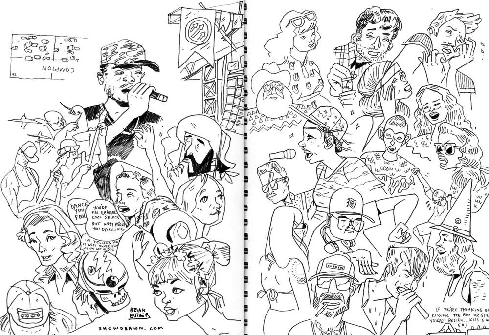 Tune-Yards, The Range, Mas Ysa, Kendrick Lamar   Illustration: Brian Butler /  Upperhand Art  /  Show Drawn