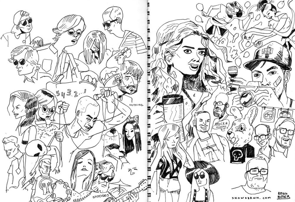 Real Estate, Grimes, Slowdive & Majical Cloudz   Illustration: Brian Butler /  Upperhand Art  /  Show Drawn