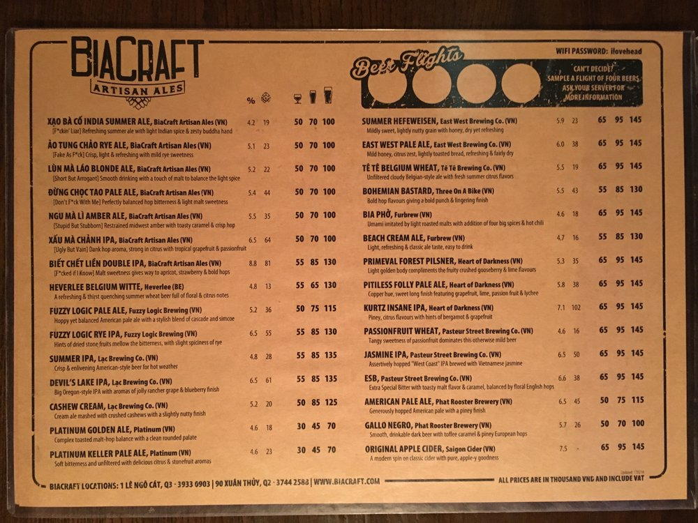 BiaCraft's extensive menu of draft beers