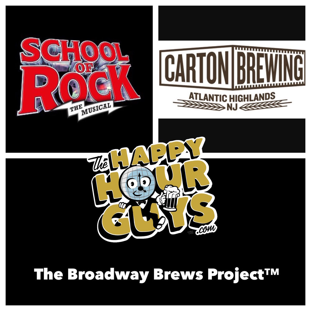 School of Rock the Musical & Carton brewed School of HOPS, an Imperial Black IPA; dark grains jamming with hoppy strawberry notes that bring to mind the lip gloss you kissed off that girl at the Duran Duran concert back in the day.