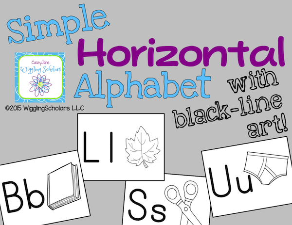 Horizontal Alphabet with Black-Line Art by Wiggling Scholars