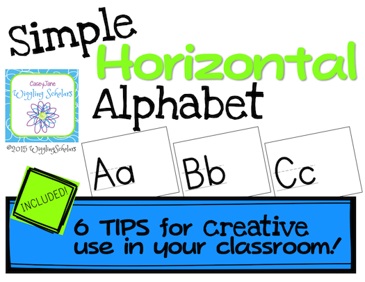 Horizontal Alphabet with No Clip Art (Room to have students draw!) by Wiggling Scholars