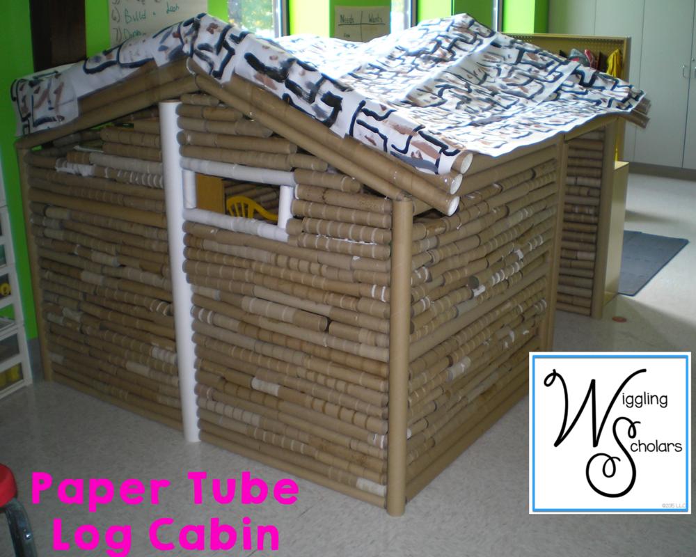 Elementary STEM Idea: Paper Tube Log  Cabin by Wiggling Scholars