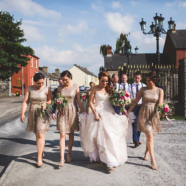 Alyssa's bridal party strolling the streets of Kilkenny, Ireland ✨