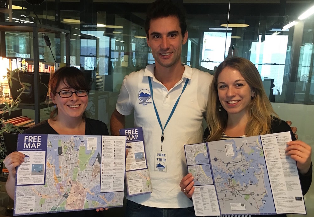 Nic & Steph with Gino and the final Sydney map!
