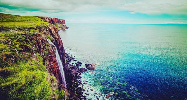 The surreal Mealt Falls at Kilt Rocks in the Isle of Skye, Scotland...