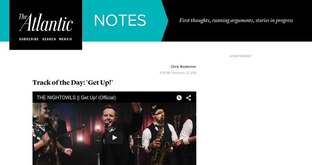 """The Nightlowls """"Get Up!"""" The Atlantic's Track of the Day"""
