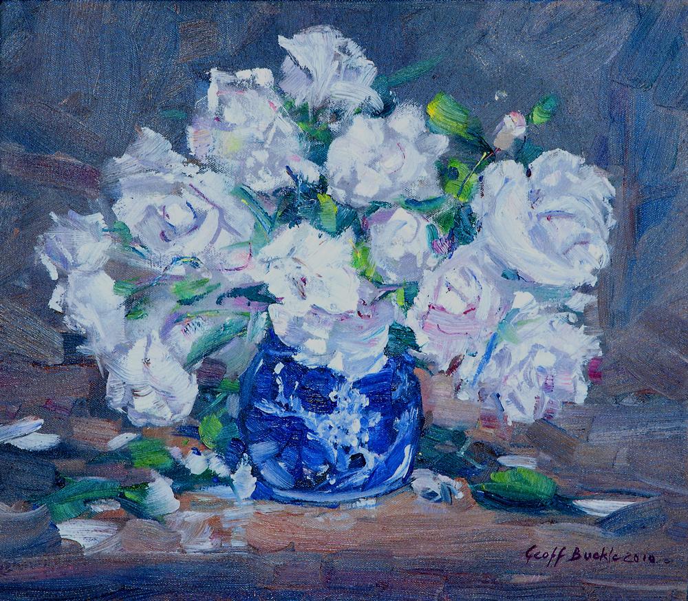 White Roses in Blue Vase