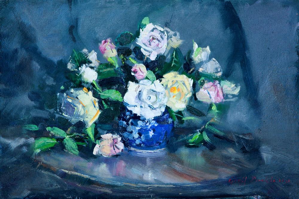 Coloured Roses in Blue Vase