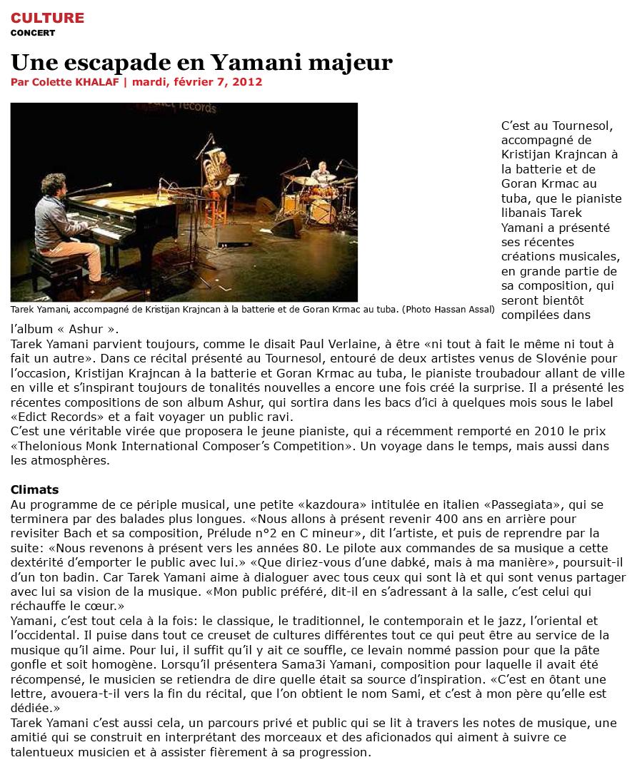 L'Orient Le Jour / 07 Feb 2012 / Colette Khalaf- Une Escapade en Yamani Majeur