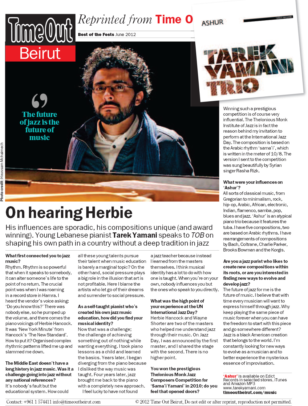 Time Out Beirut  / June 2012 / Natalie Shooter:  On Hearing Herbie