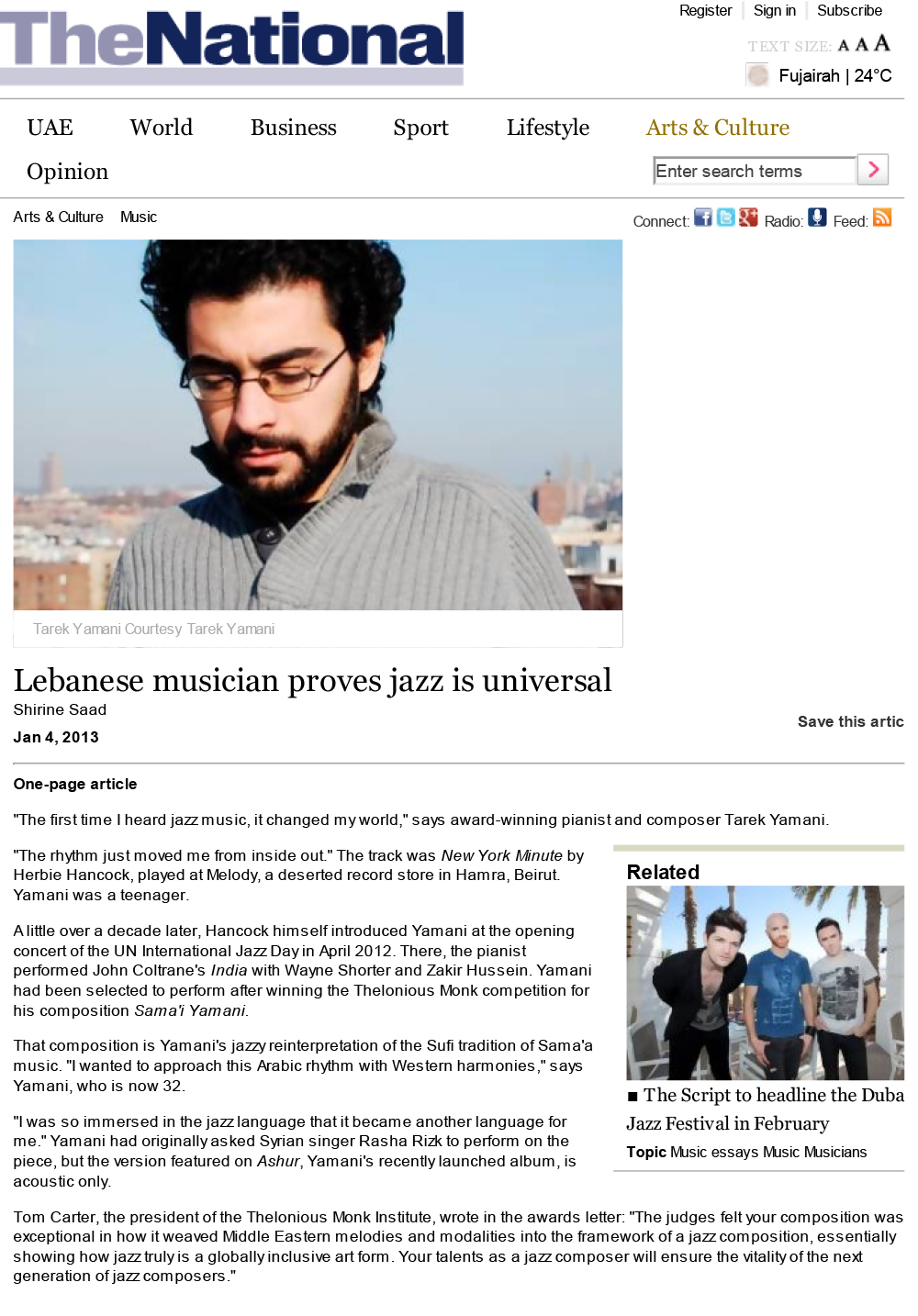 The National  / 04 Jan 2013 / Shirine Saad -  Lebanese Musician Proves Jazz Is Universal