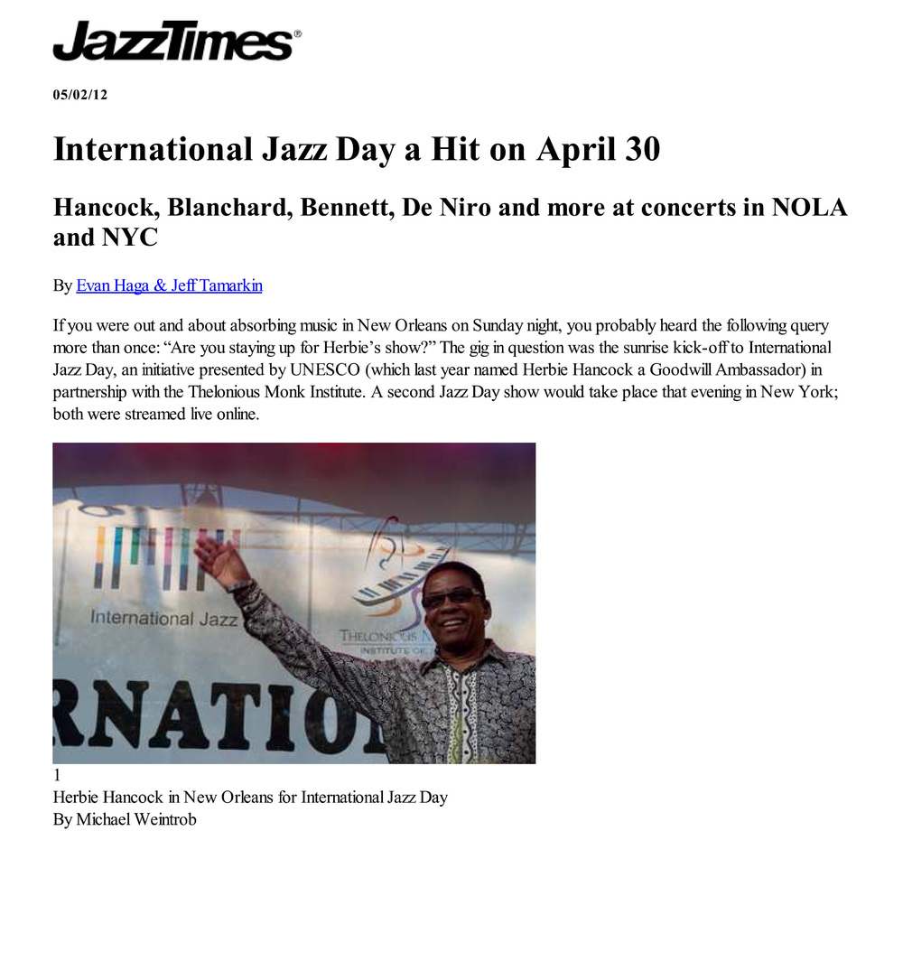 Jazz Times  / 02 May 2012 / Evan Haga & Jeff Tamarkin -  International Jazz Day A Hit on April 30