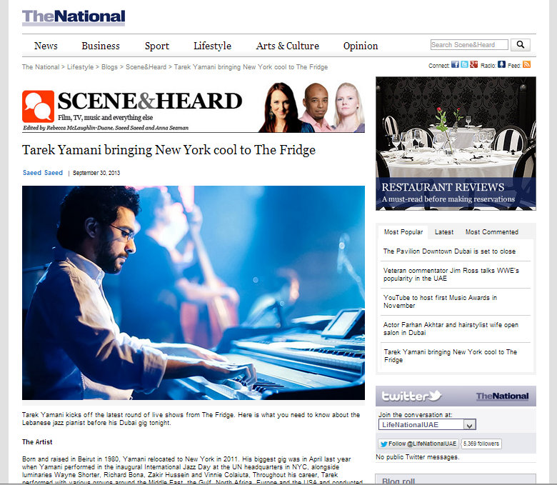 The National  / 30 Sep 2013 / Saeed Saeed -  Tarek Yamani bringing New York cool to The Fridge