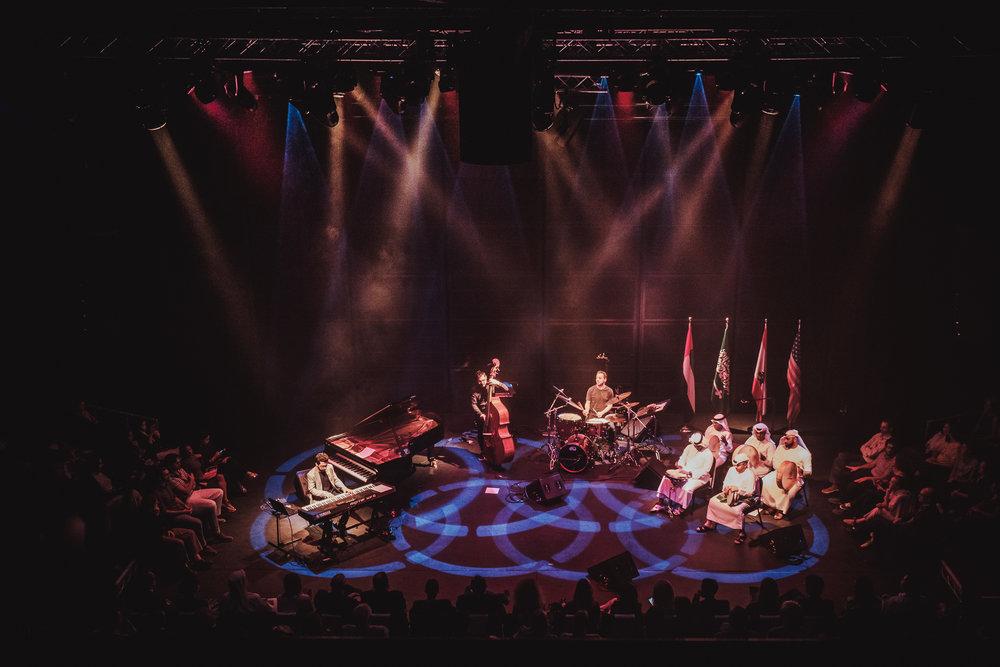 """""""Peninsular"""" release / Abu Dhabi Festival - photo by Vartan Kelechian Tarek Yamani, Elie Afif, Khaled Yassine, Khalifa Al Jassem band"""