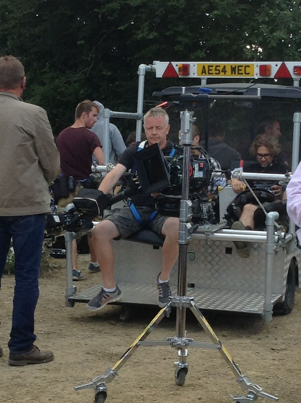 Arri Alexa camera on a steadicam and Jonny (director) looking at the monitor