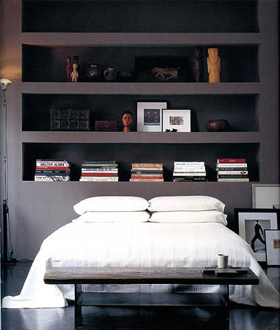 (via  bookshelfporn )   love the dark colours and simplicity.