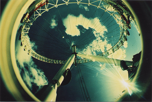 lavenderdays: Looking up to the London Eye, taken with a Lomo Fish Eye Camera Countdown to London: 89 days soon soon, i will make it there.