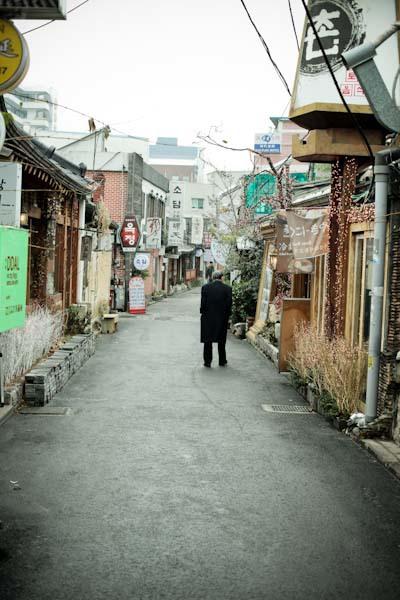 silent street insandong, seoul. circa december 2009.