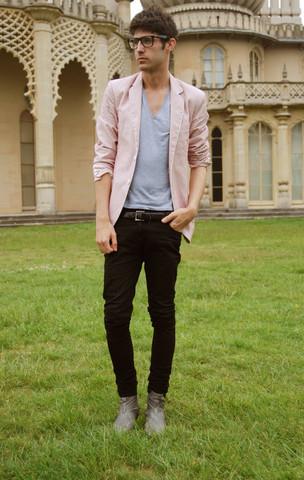 lookbookdotnu: It might be love the pink blazer!