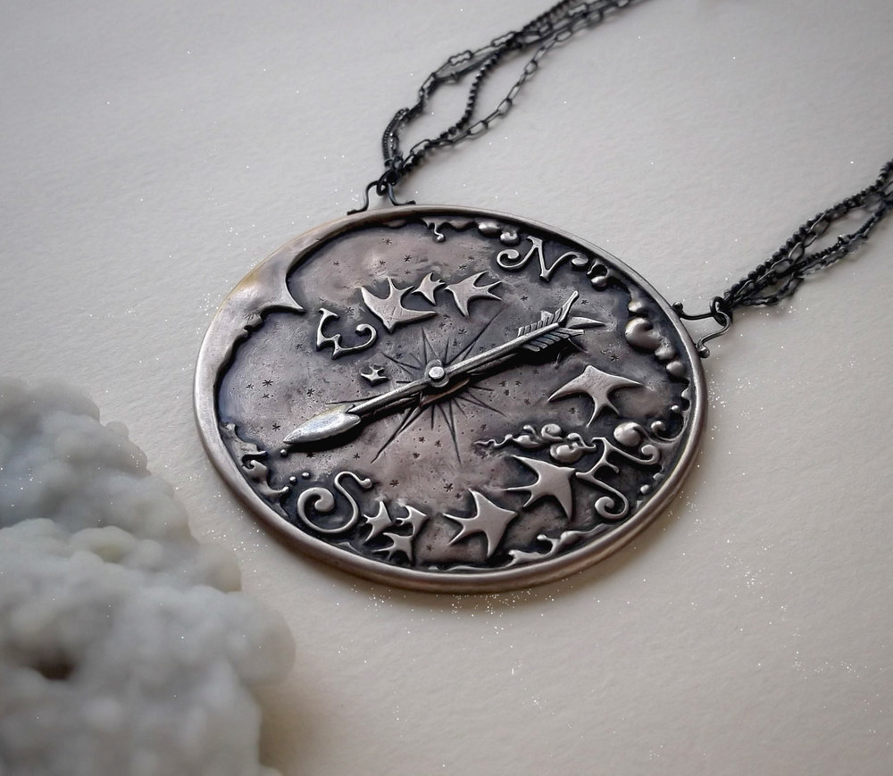 Compass Necklace   Bronze, sterling silver, lavender quartz, moonstone and labradorite