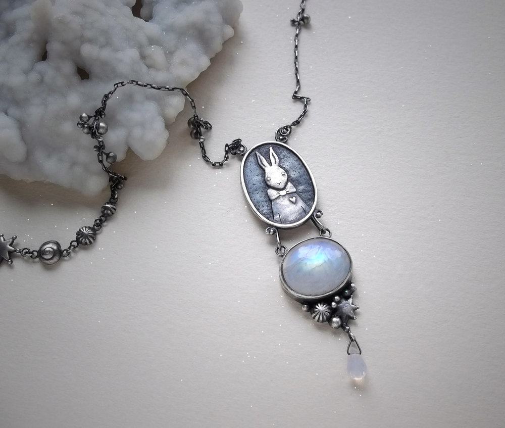 Rabbit Necklace  Sterling silver, moonstone and lavender quartz