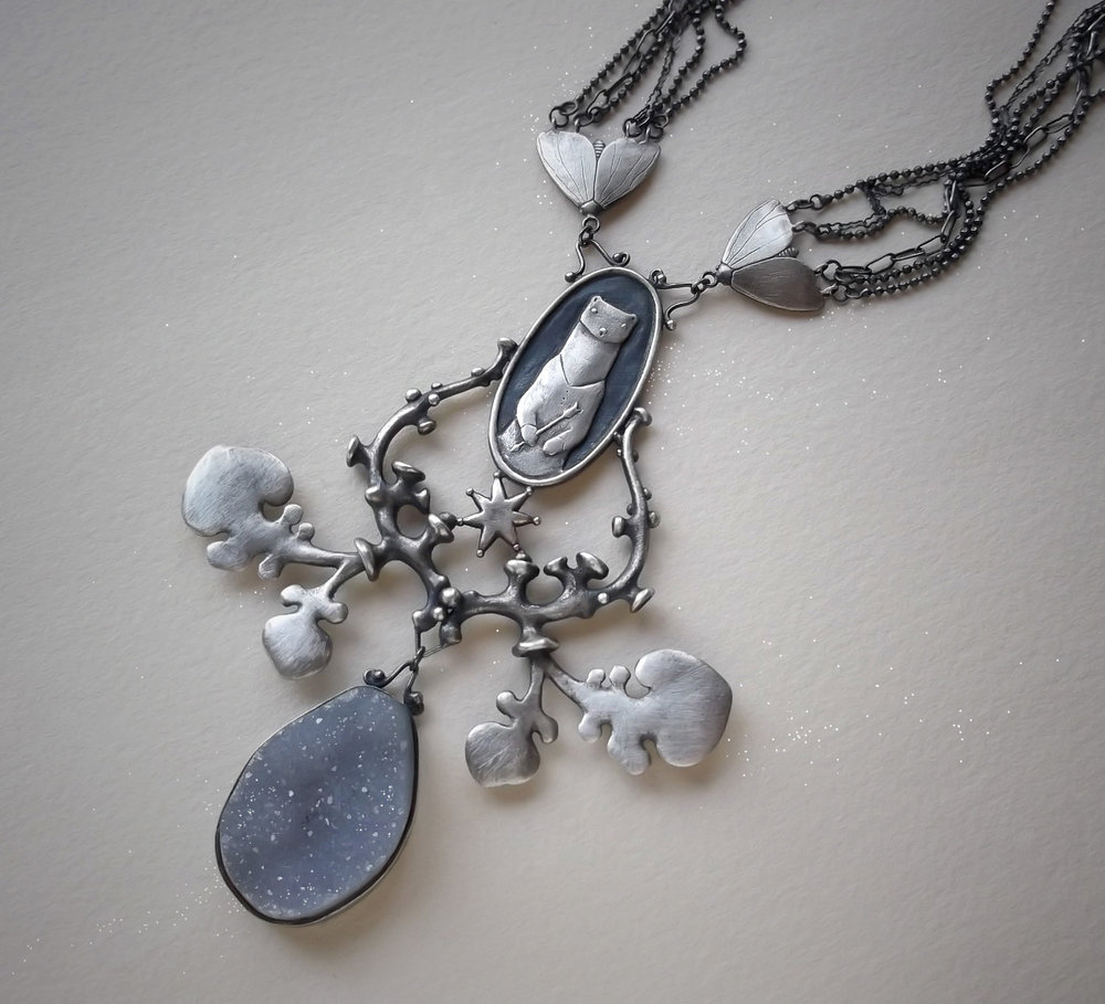 Weasel Warrior Necklace Sterling silver and druzy