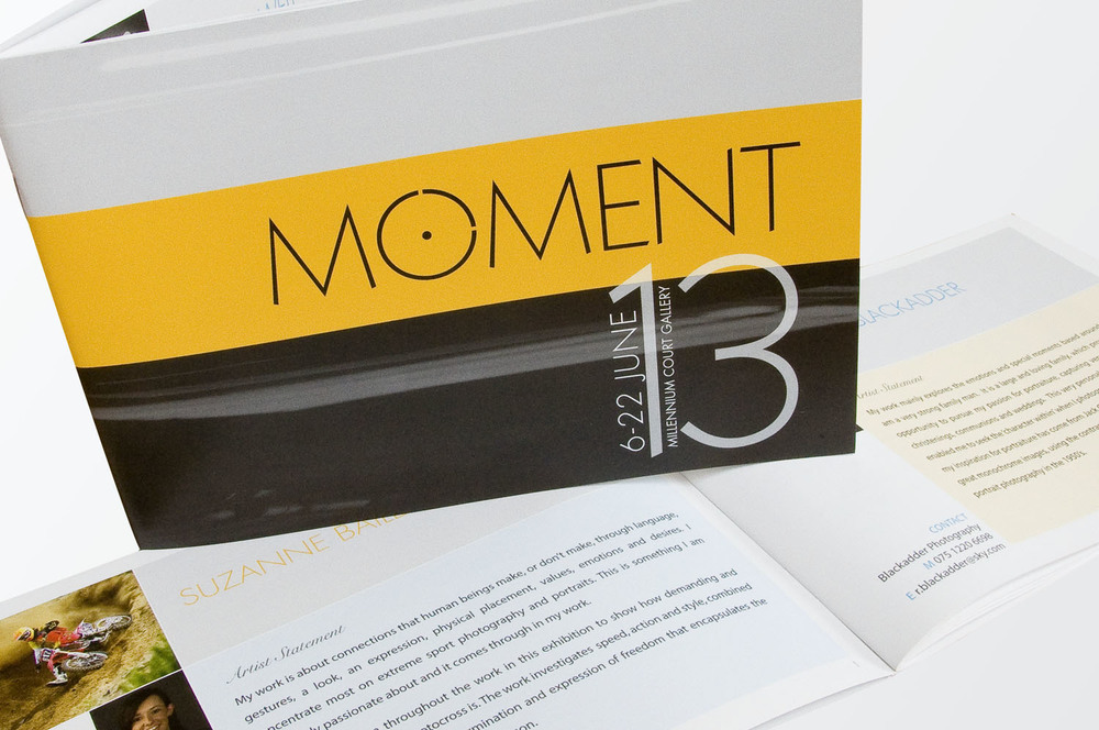 Design of brochure for Moment exhibition, Portadown