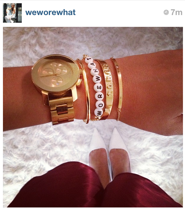 Danielle of WeWoreWhat.com in her custom made RP bracelet