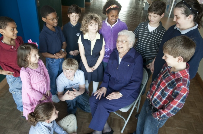 Sister Anne Rita Mauck with de Paul students