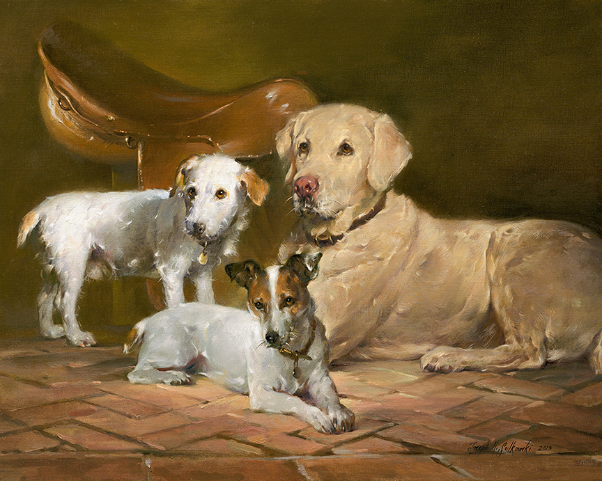 "Hollywood, Tango, and Shiloh           oil on canvas 24"" x 30"""